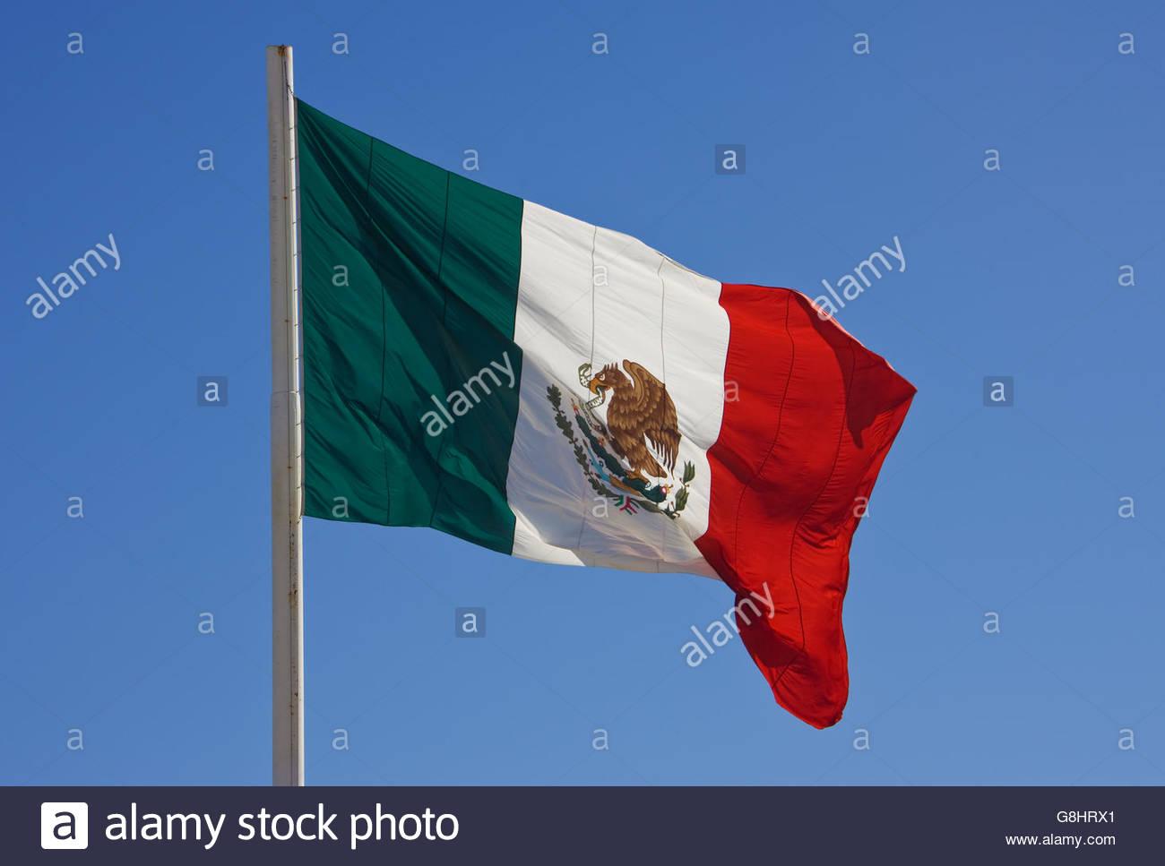 Flag of Mexico, San Jose Del Cabo, Cabo San Lucas, Baja California Sur, Mexico - Stock Image