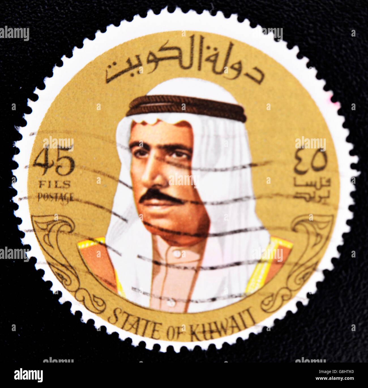 KUWAIT - CIRCA 1993: a stamp printed in Kuwait shows image of Sheik Sabah, circa 1974 - Stock Image