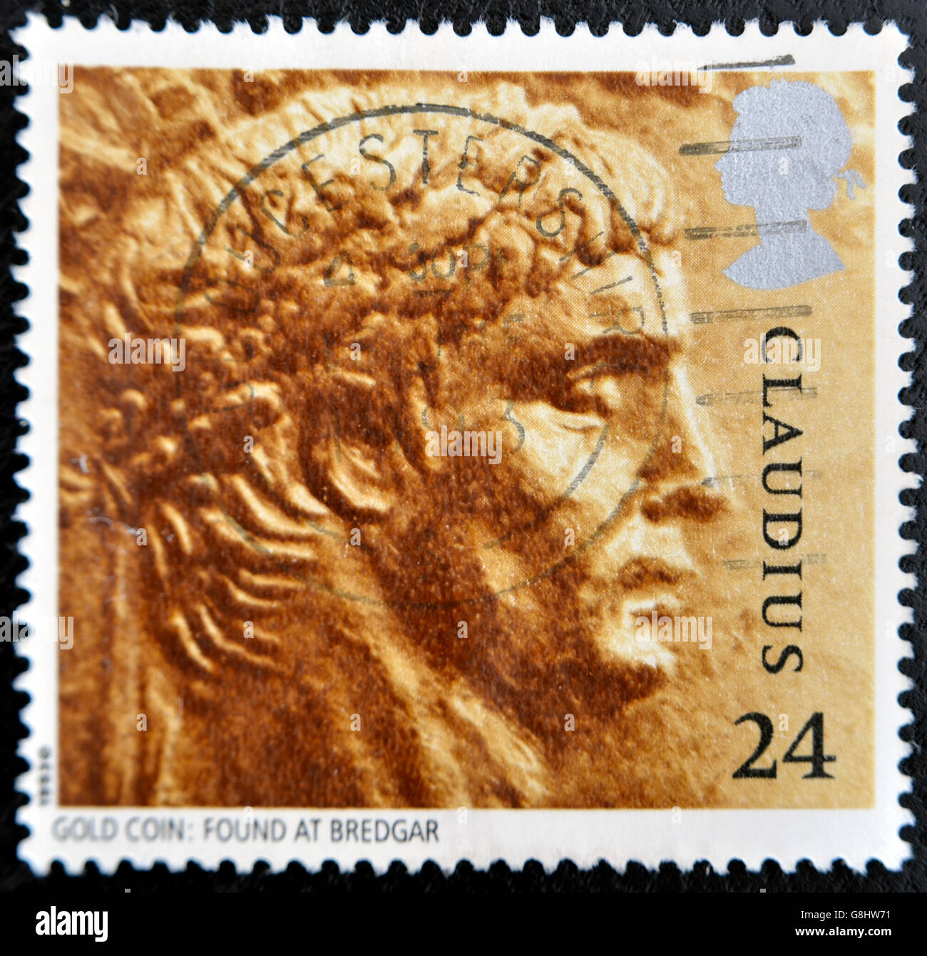 UNITED KINGDOM - CIRCA 1993: A stamp printed in Great Britain shows image of Claudius, gold coin: Found at Bredgar, - Stock Image