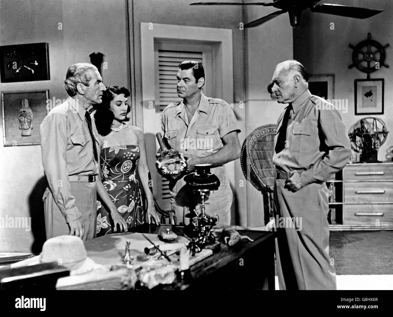 Cannibal Attack, USA 1954, Regie: Lee Sholem, Darsteller: (v. l.) Steve Darrell, Judy Walch, Johnny Weissmuller, - Stock Image