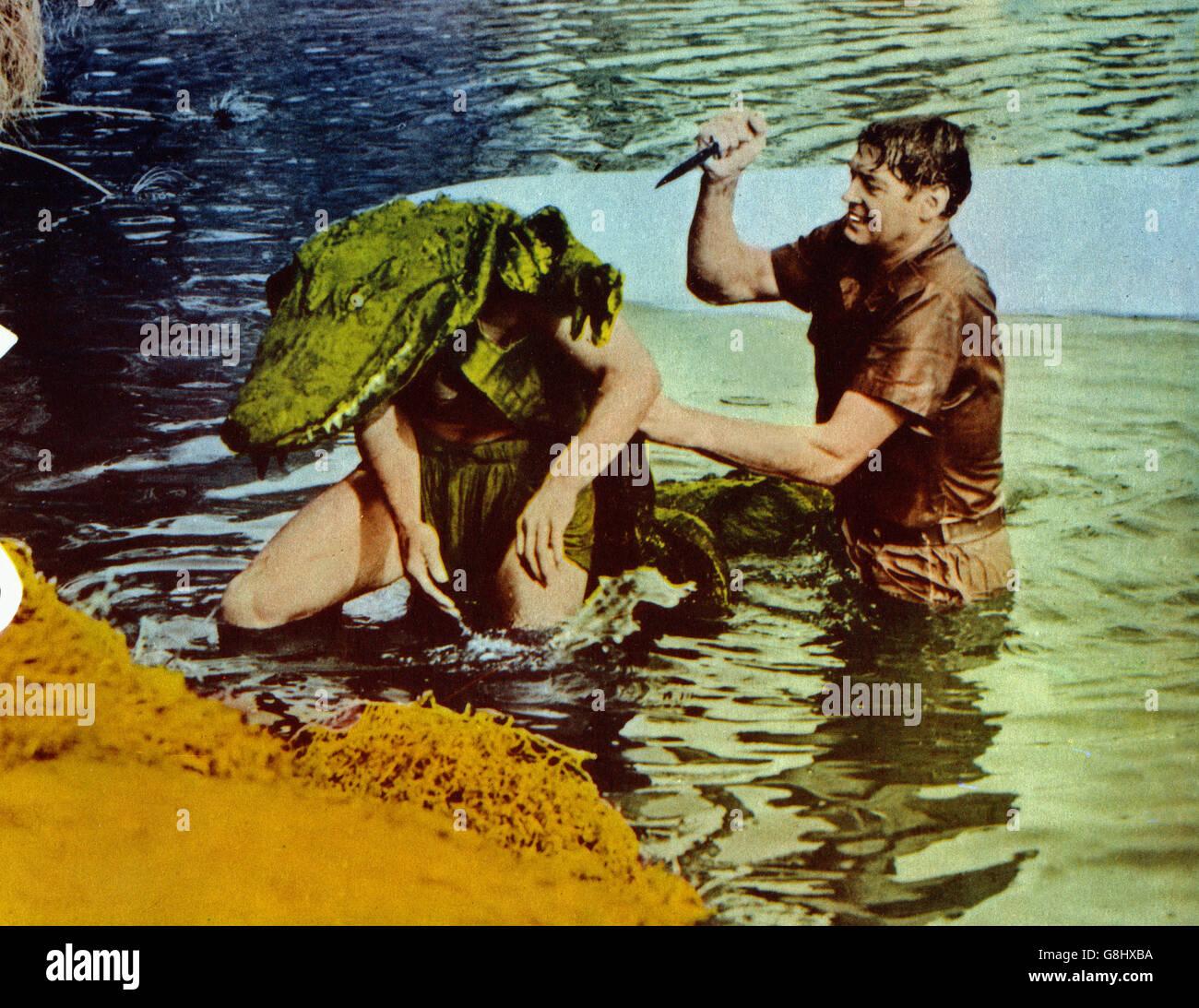 Cannibal Attack, USA 1954, Regie: Lee Sholem, Darsteller: Johnny Weissmuller - Stock Image