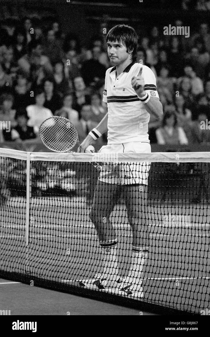 Tennis - Benson and Hedges Championships - Singles Final - John McEnroe v Jimmy Connors - Wembley Arena Stock Photo