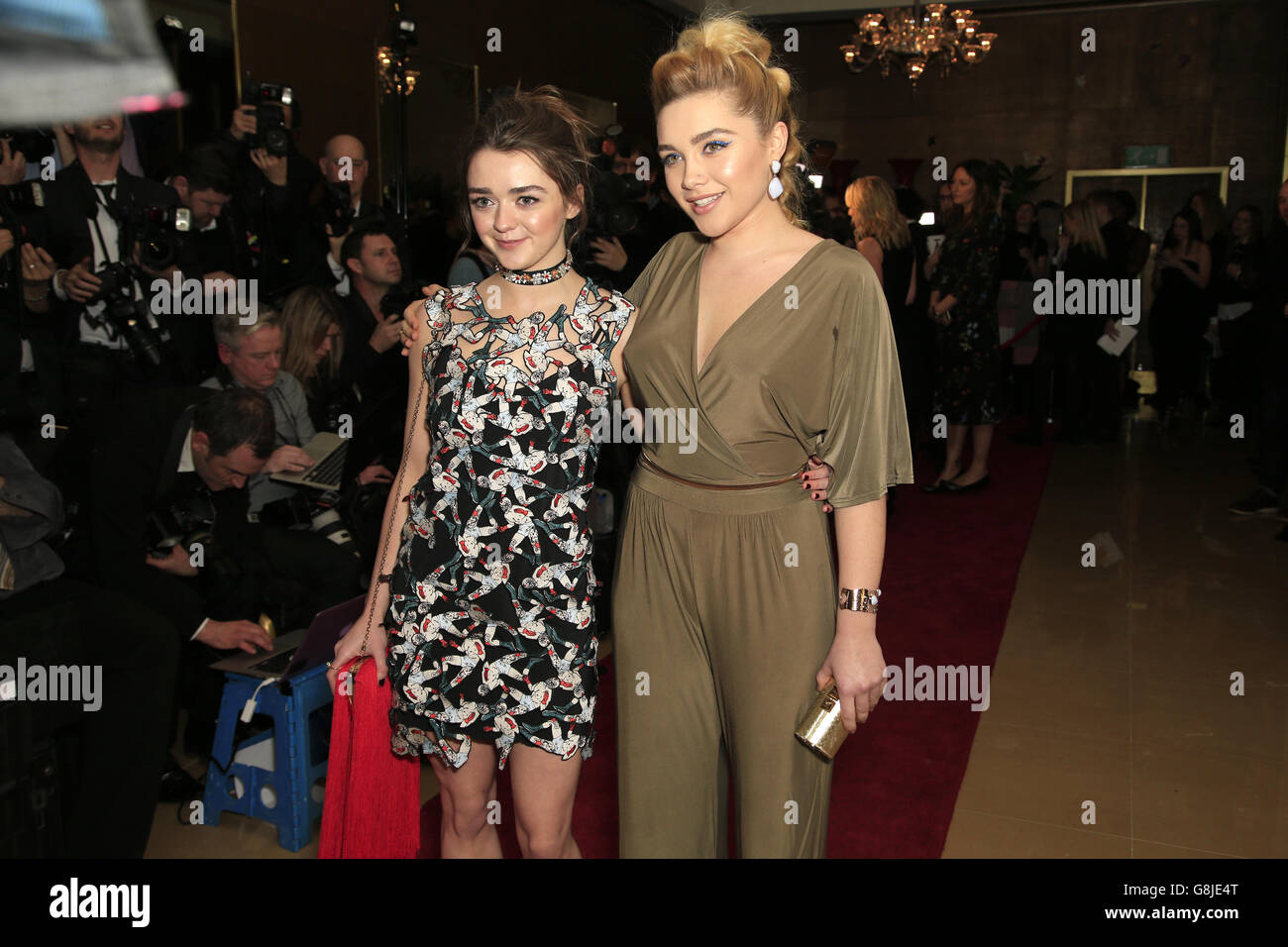 Maisie Williams and Florence Pugh attending the London Critics' Circle Film Awards at the May Fair Hotel, Central London. PRESS ASSOCIATION Photo. Picture date: Sunday 17th January, 2016. See PA story SHOWBIZ Critics. Photo credit should read: Jonathan Brady/PA Wire. Stock Photo