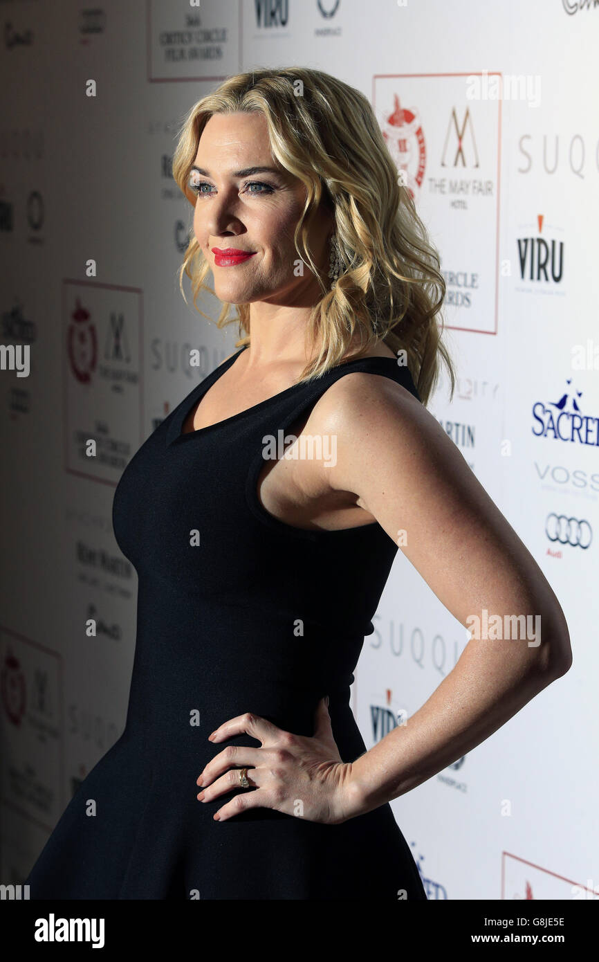 Kate Winslet attending the London Critics' Circle Film Awards at the May Fair Hotel, Central London. PRESS ASSOCIATION Photo. Picture date: Sunday 17th January, 2016. See PA story SHOWBIZ Critics. Photo credit should read: Jonathan Brady/PA Wire. Stock Photo