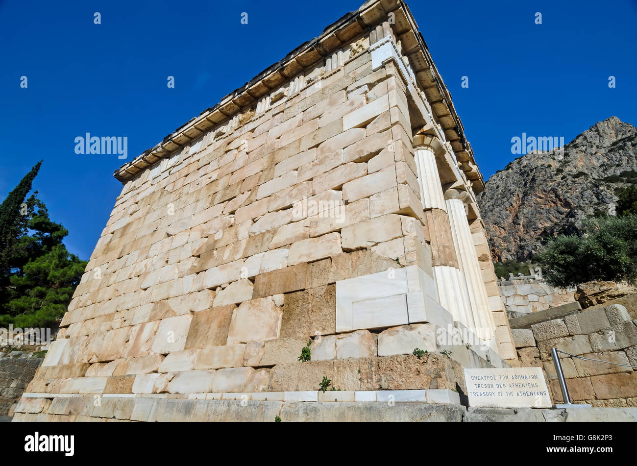 Treasury of the Athenians at Archaeological Site of Delphi Greece Stock Photo