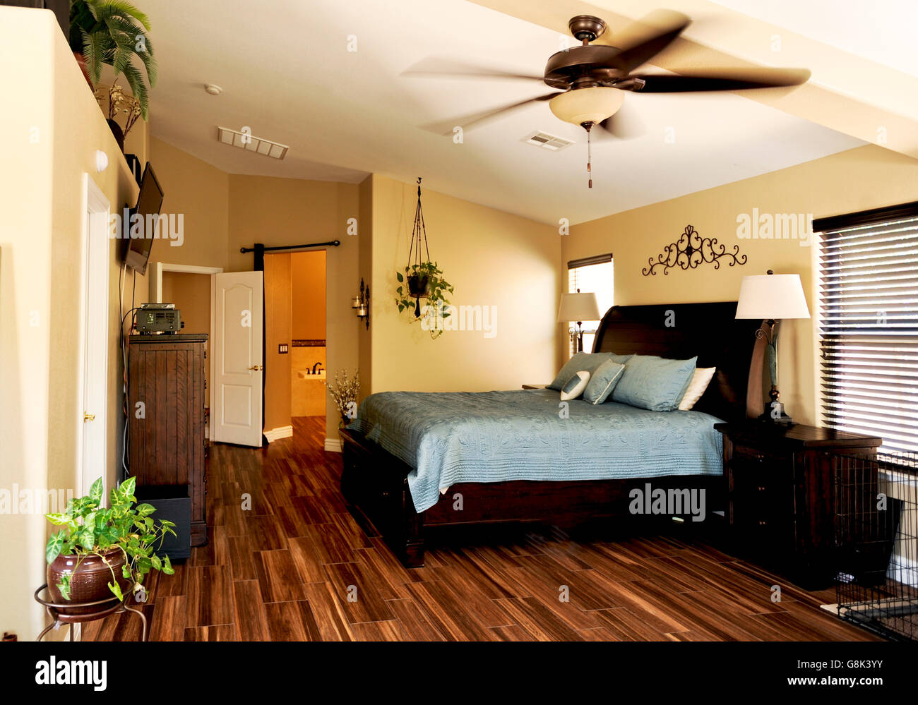 Spacious master bedroom home interior - Stock Image