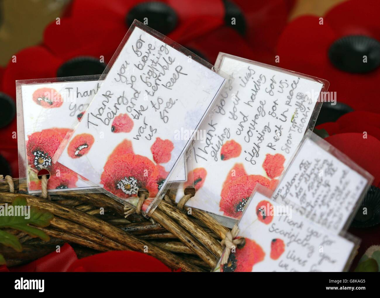 General view of tributes left by schoolchildren at the Thiepval Memorial in France which holds the names of more - Stock Image