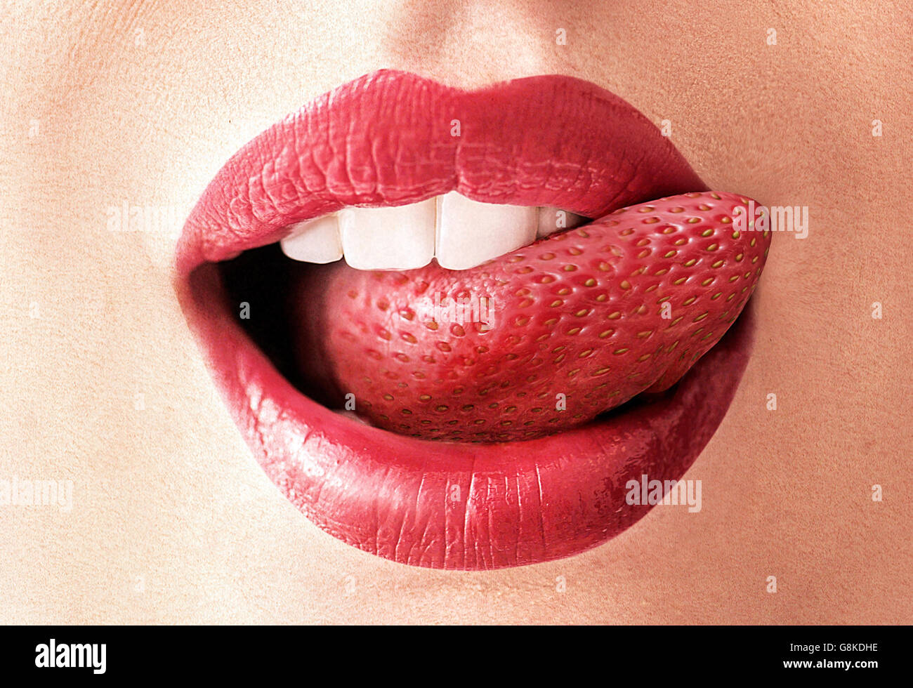 Closeup image of a red strawberry tongue - Stock Image