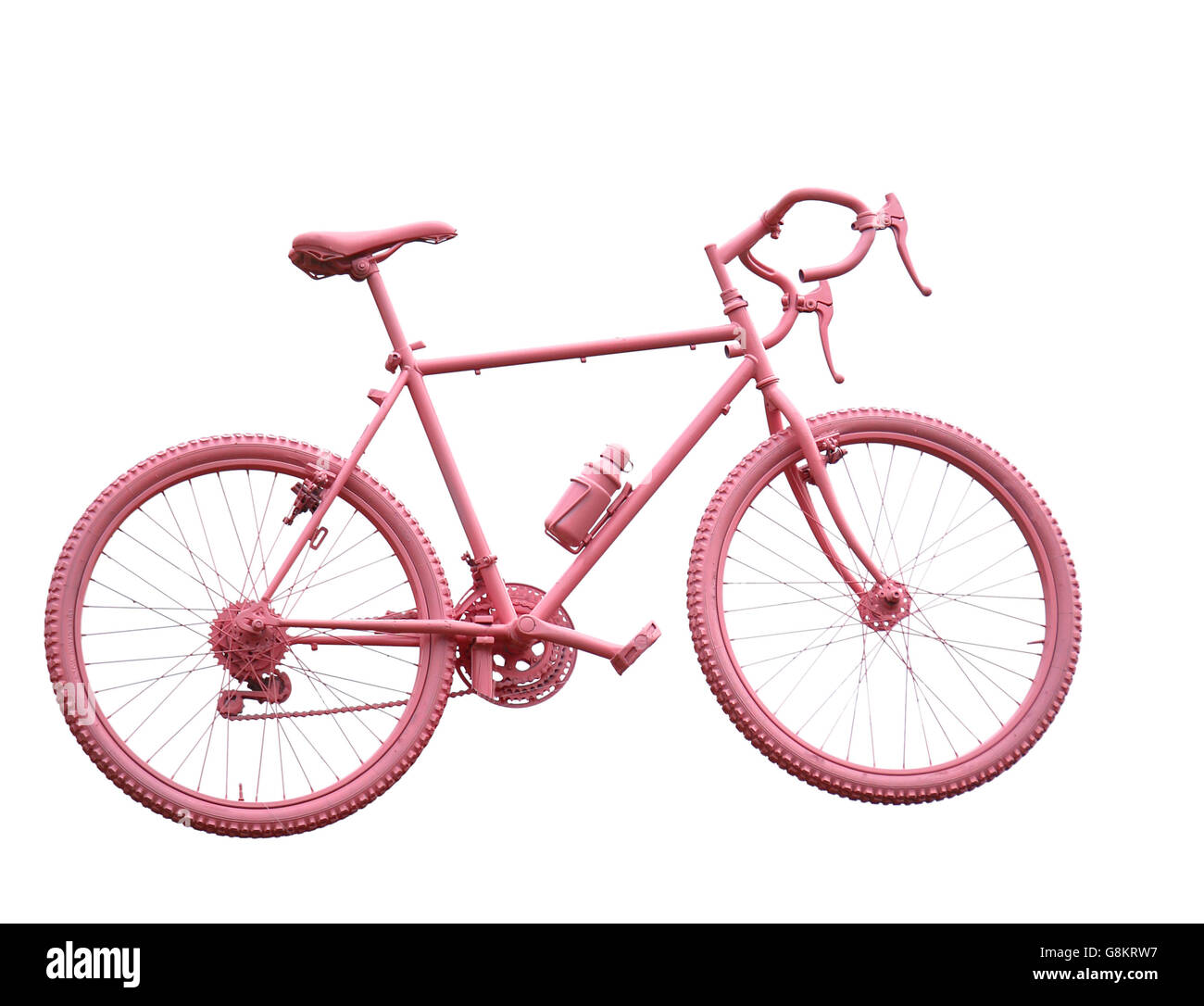 sport bike all pink on white background - Stock Image