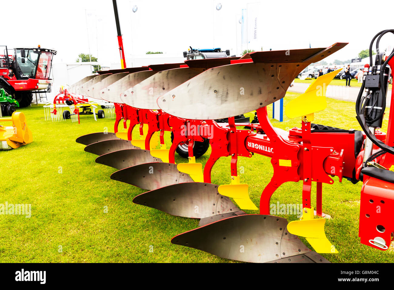 Plough plow farming for initial cultivation of soil equipment agriculture tool close detail UK England GB - Stock Image