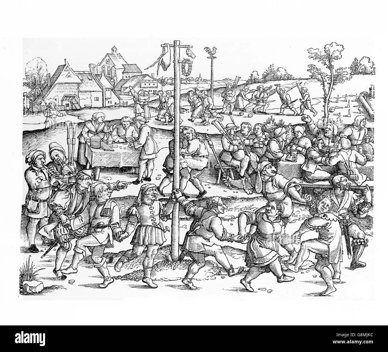 Middle ages peasant celebrate several festivals at harvest time and during the year, related to religion and nature. - Stock Image