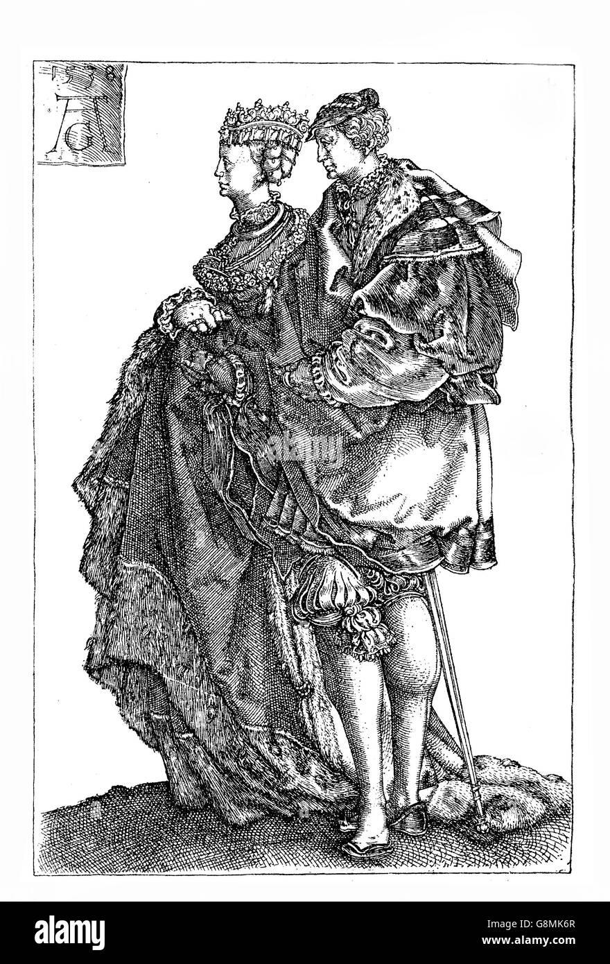 German Renaissance , Heinrich Aldegrever (1502-1555) Marriage Dancers engraving - Stock Image