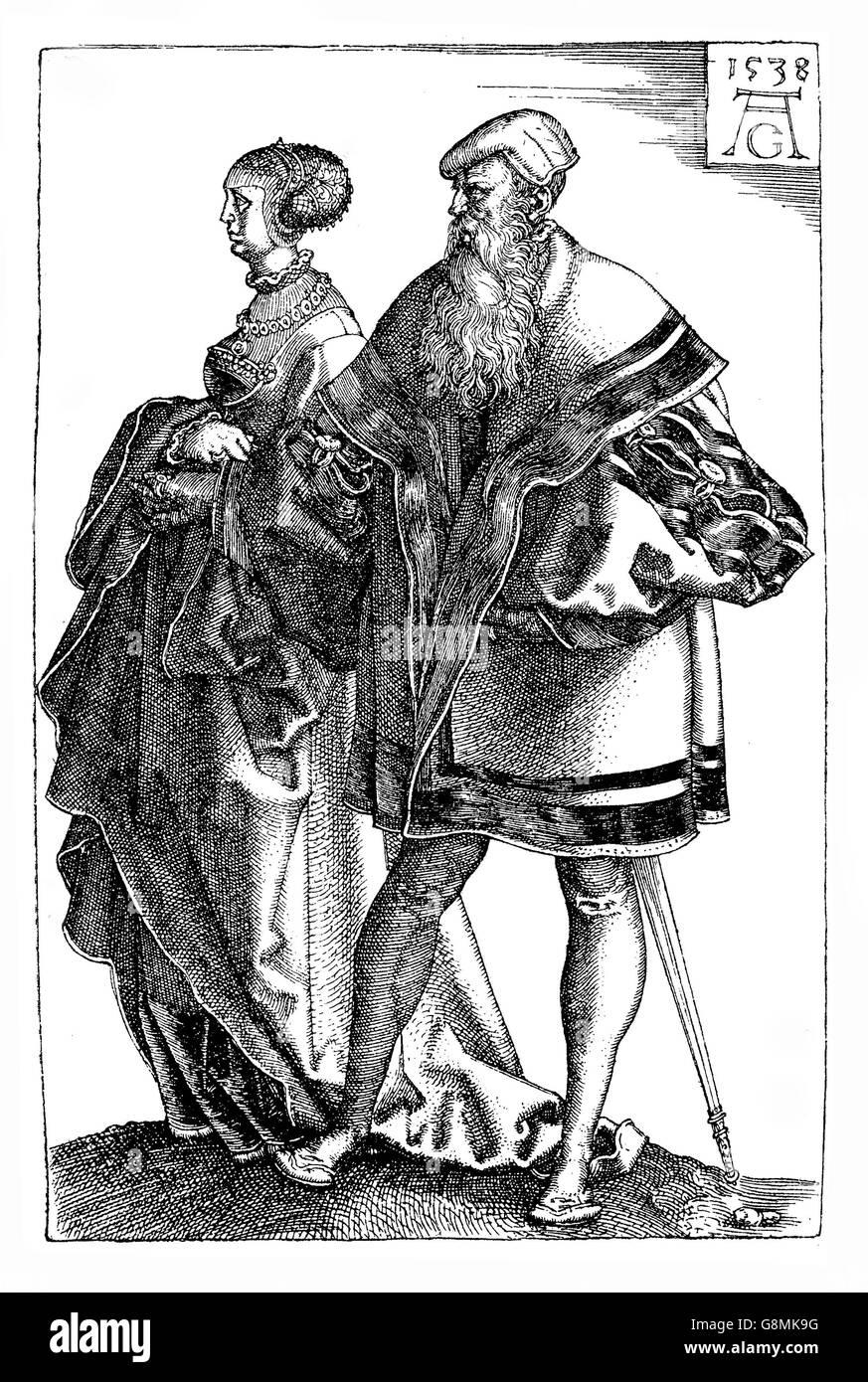 German Renaissance , Heinrich Aldegrever (1502-1555) wedding dancers, engraving - Stock Image