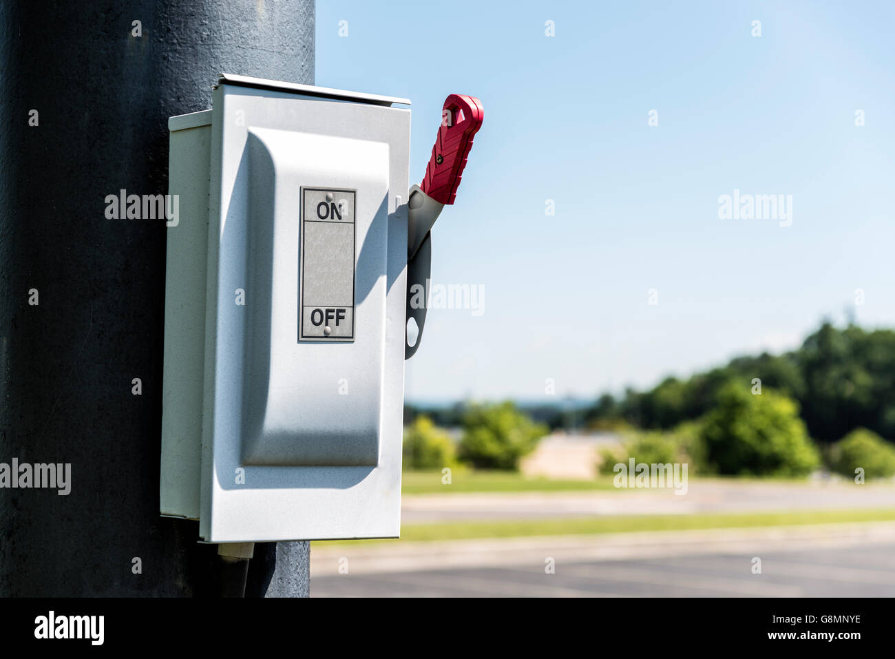 ON/OFF Lever on Electric Pole Horizontal - Stock Image