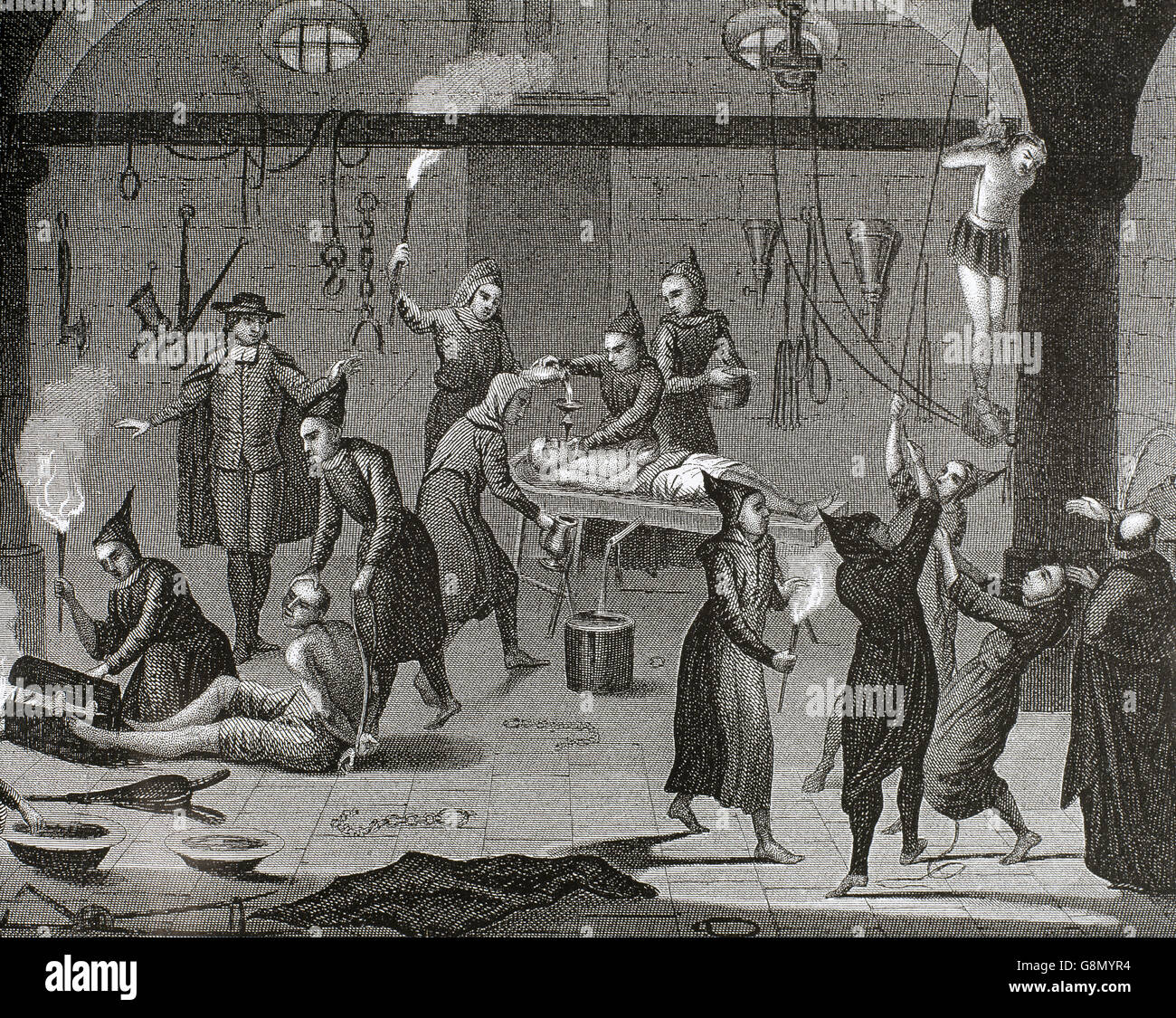 Middle ages. Torture chamber. Engraving depicting different types of physical torture. - Stock Image