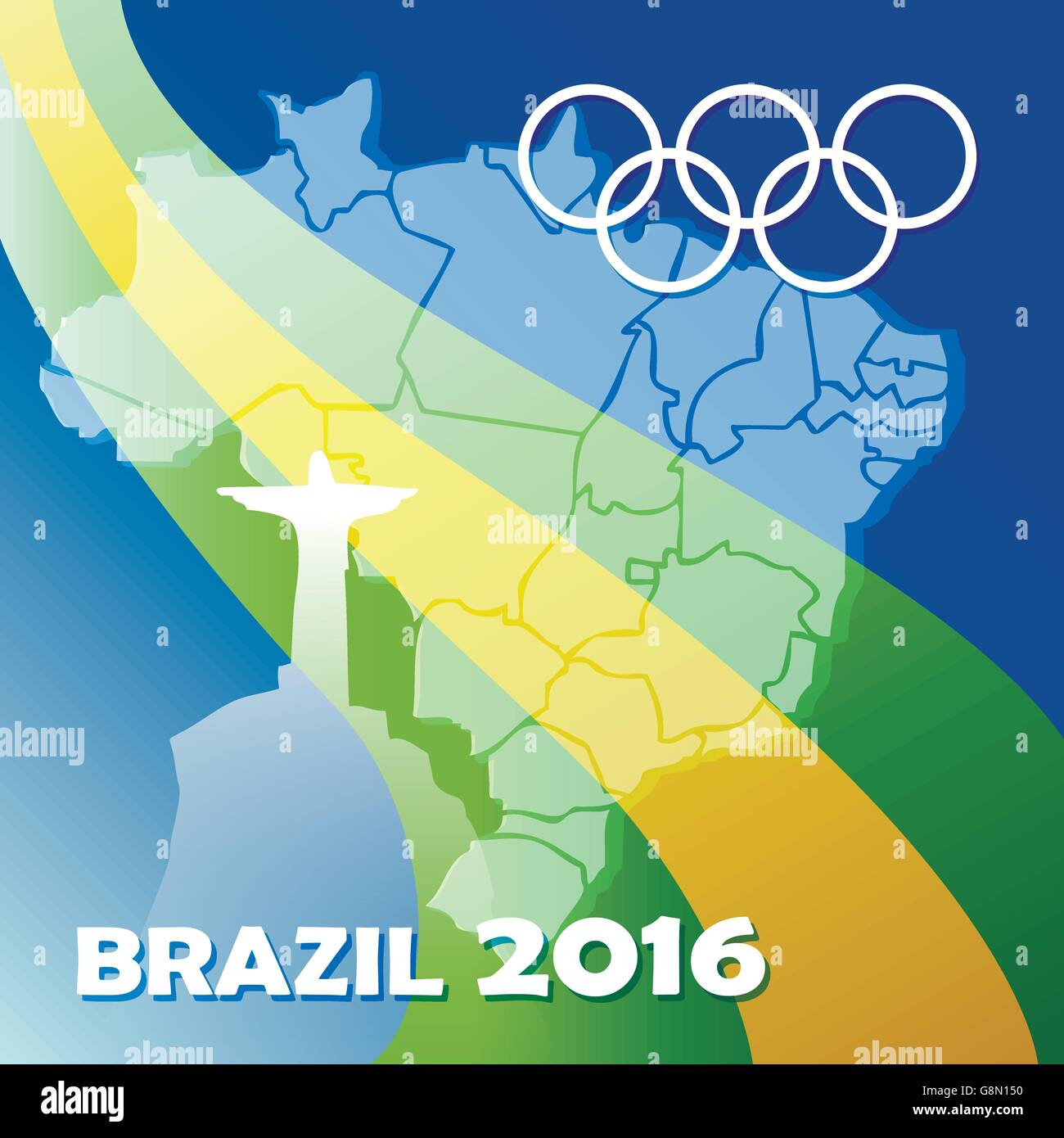 Colorful Brazil Olympic Games Poster. Olympic rings and national flag of Brazil against silhouette of country - Stock Vector