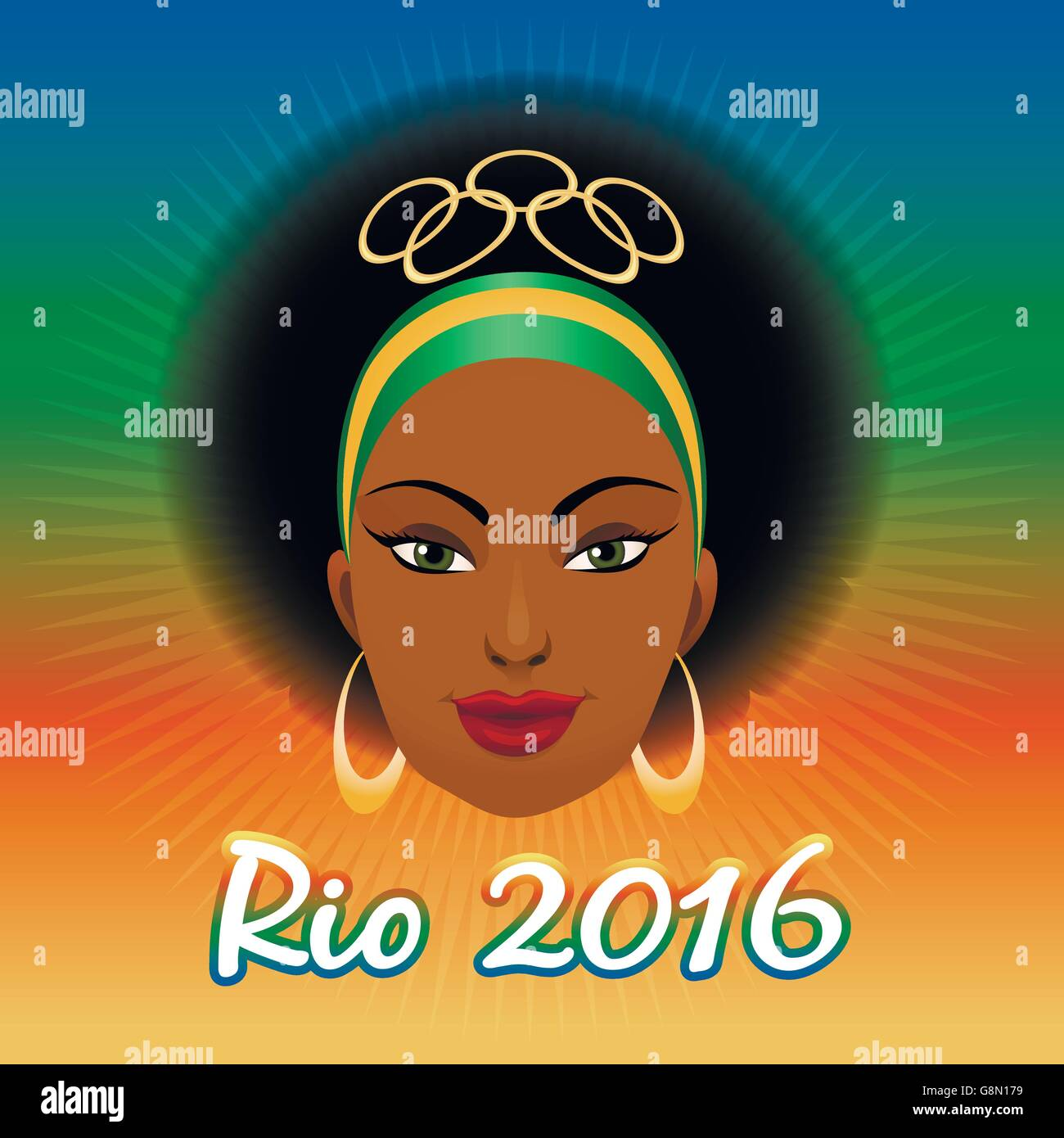 Rio Olympic Games Emblem with woman face against colorful festive background. Stock Vector