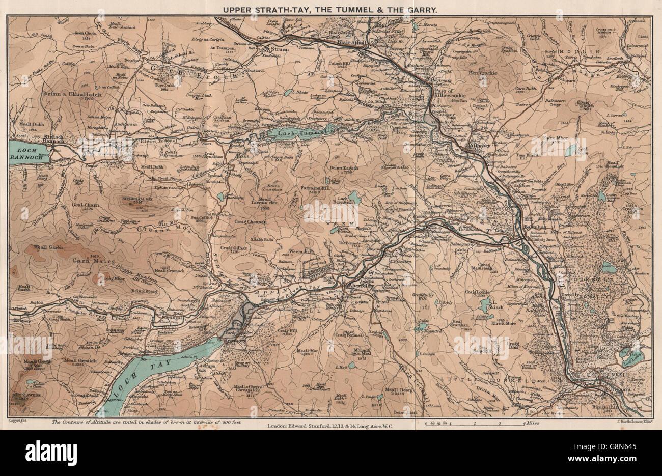 Pitlochry Scotland Map.Upper Strathtay Tummel Garry Dunkeld Pitlochry Scotland Stock