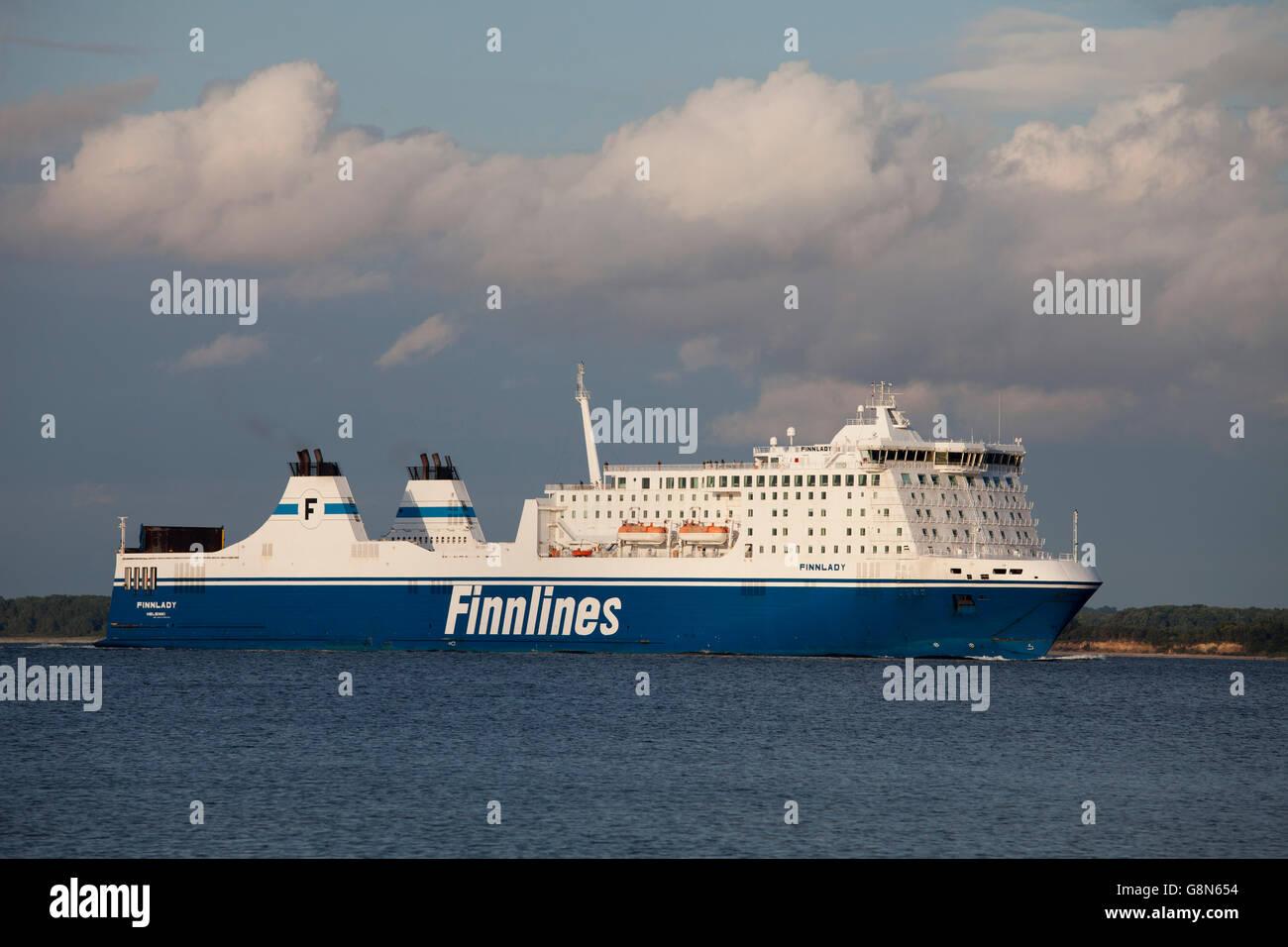 Ferry, Finnlines, Finnlady, Baltic coastal resort of Travemuende, Luebeck Bay, Schleswig-Holstein, PublicGround - Stock Image