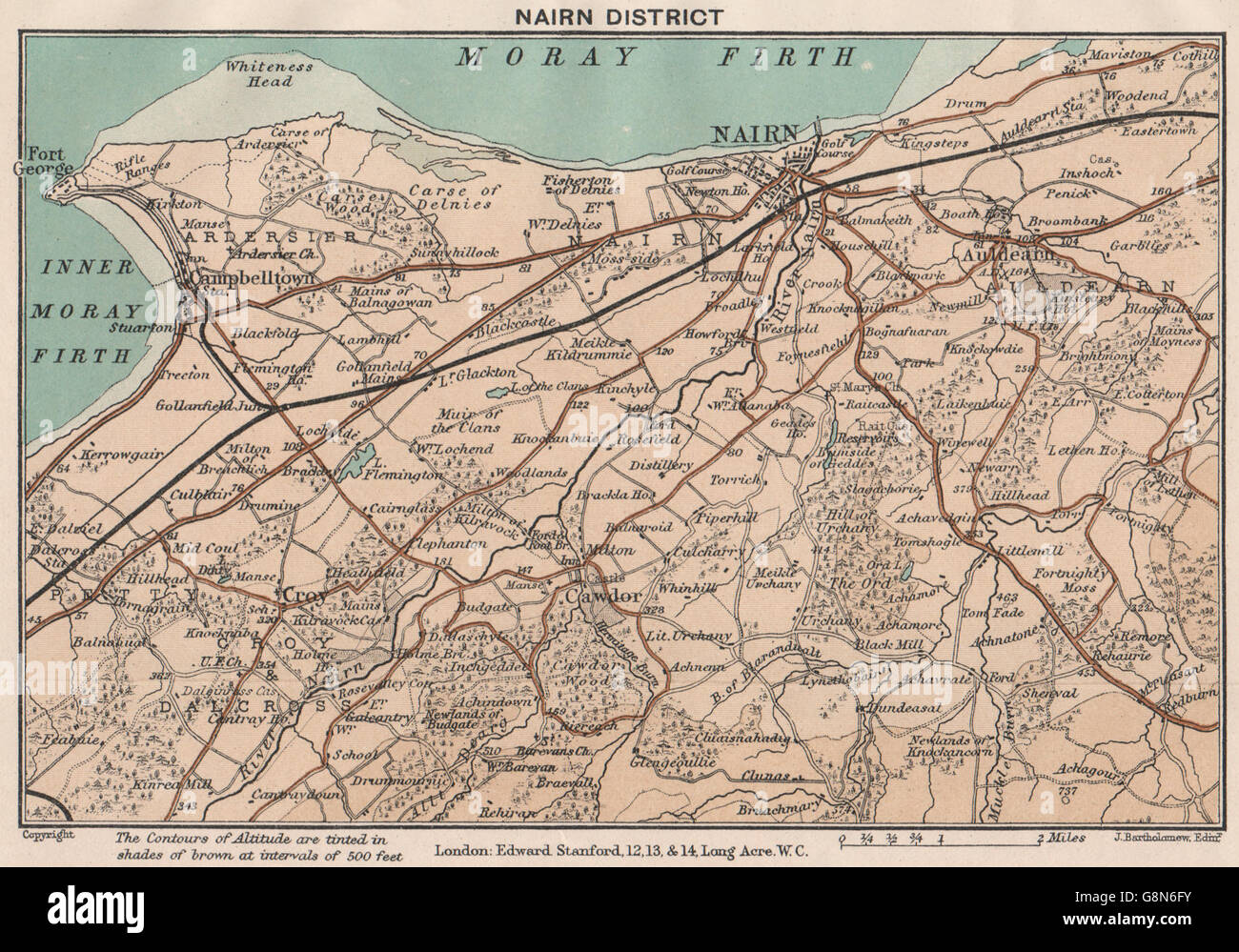 Nairn Scotland Map.Nairn District Campbelltown Vintage Map Scotland Stanford 1905