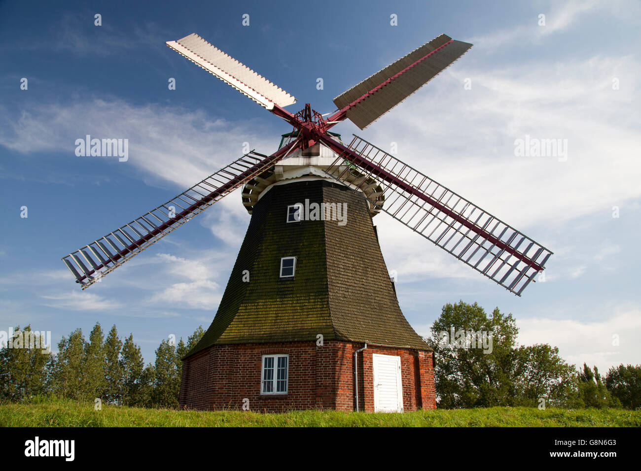 Dutch windmill of Stove, built in 1889, Boiensdorf, Northwest-Mecklenburg District, Mecklenburg-Western Pomerania - Stock Image