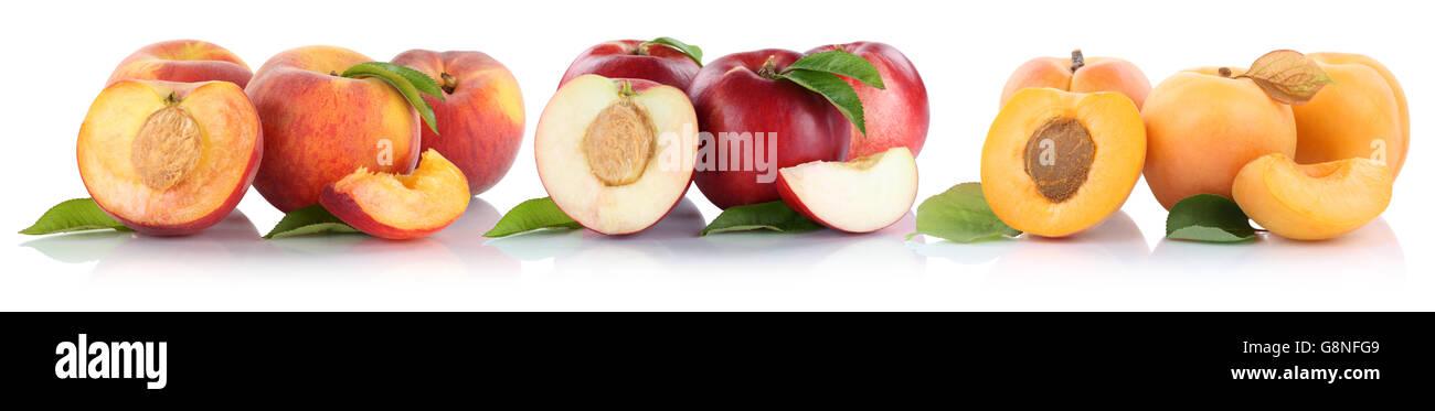 Peach nectarine apricot peaches nectarines slice half fruit fruits isolated on a white background - Stock Image