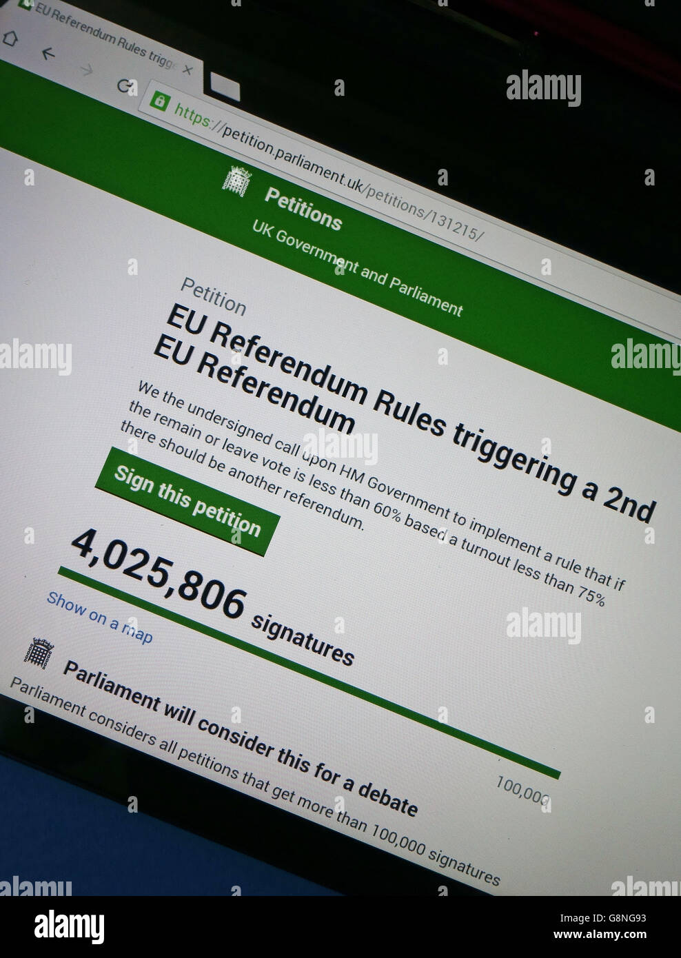 Online petition calling for 2nd EU Referendum exceeds 4 million signatures, London - Stock Image