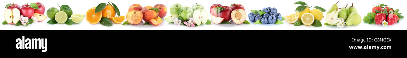 Fruits apple orange apples oranges fruit in a row isolated on a white background - Stock Image