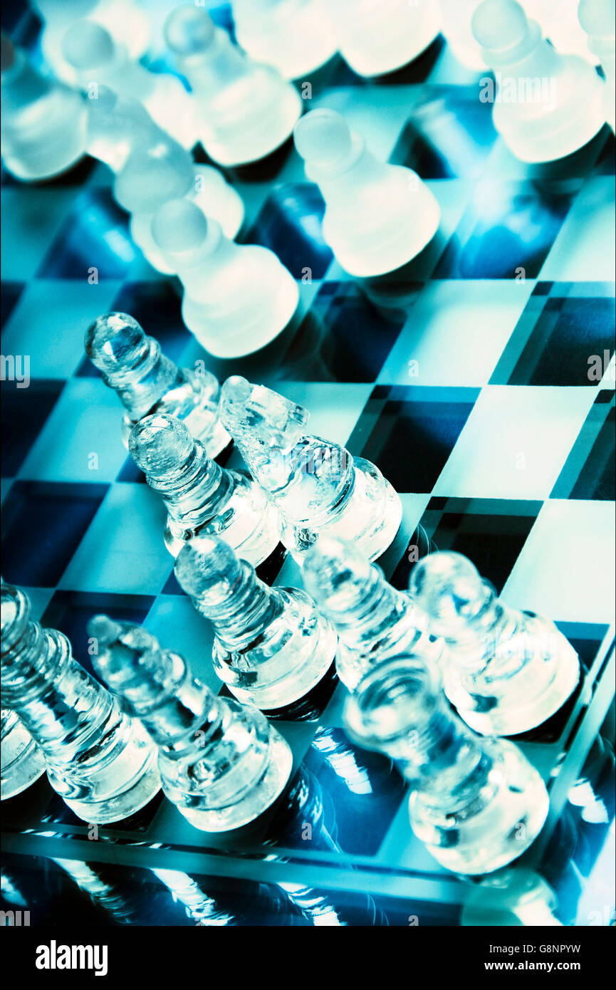 chess in glass - Stock Image