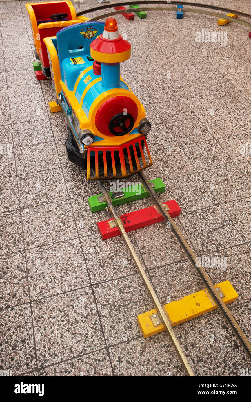 colorful realistic train for children - Stock Image