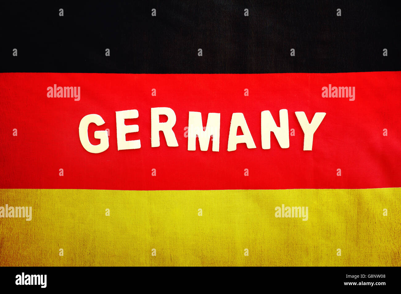 German flag, abstract background with text space, patriotic wallpaper for football fans - Stock Image
