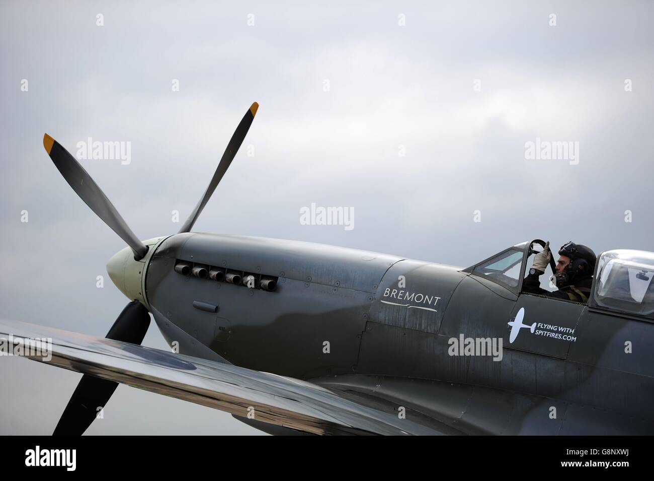 Spitfire 80th anniversary event at Southampton Airport - Stock Image