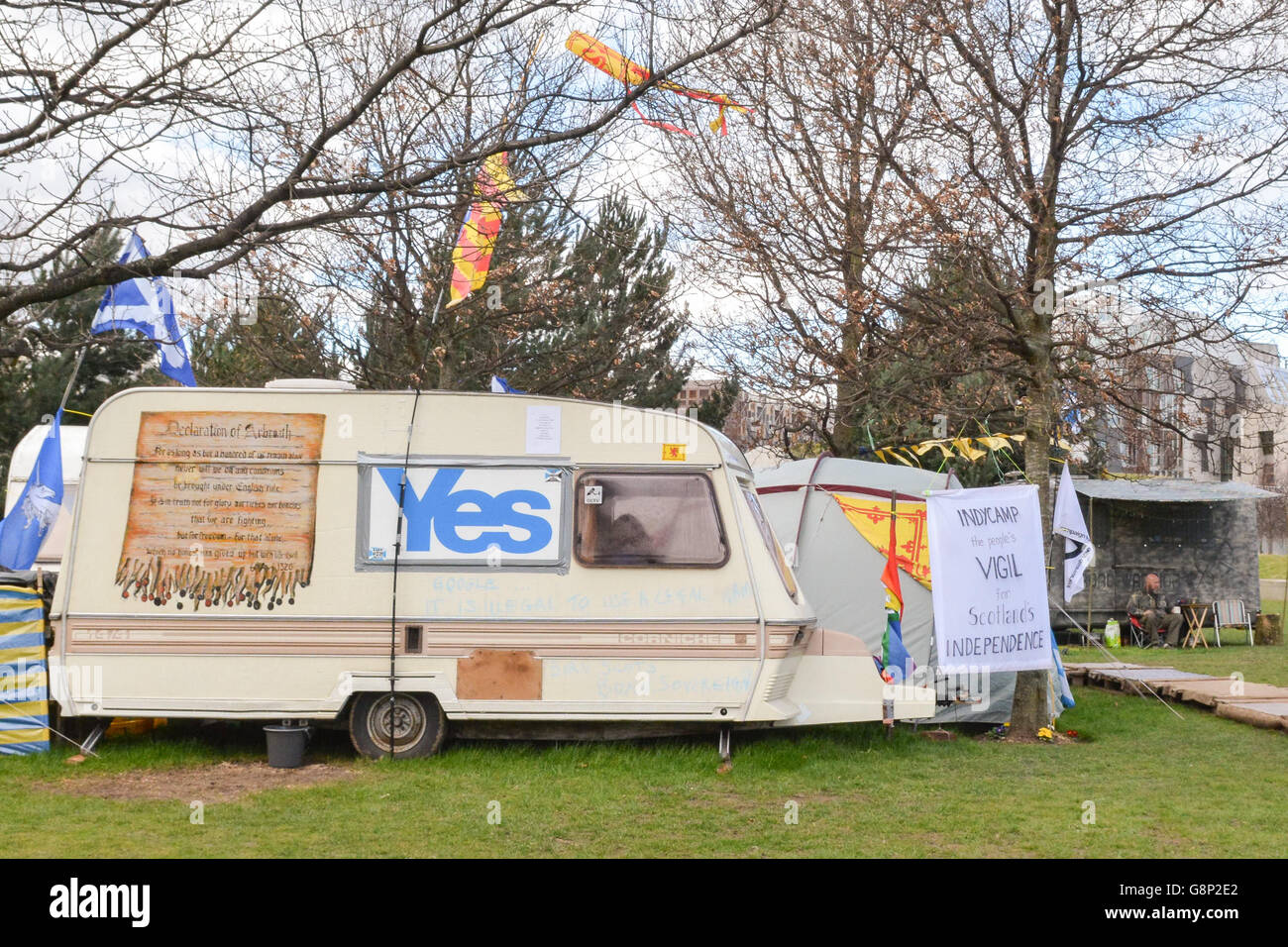 Holyrood pro independence protest camp 'IndyCamp' in Holyrood Park outside the Scottish Parliament building - Stock Image