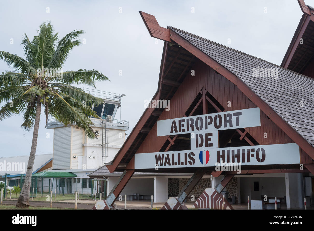 Hihifo, Wallis et Futuna - June 21, 2016: Main entrance of Hihifo Wallis island airport - Stock Image