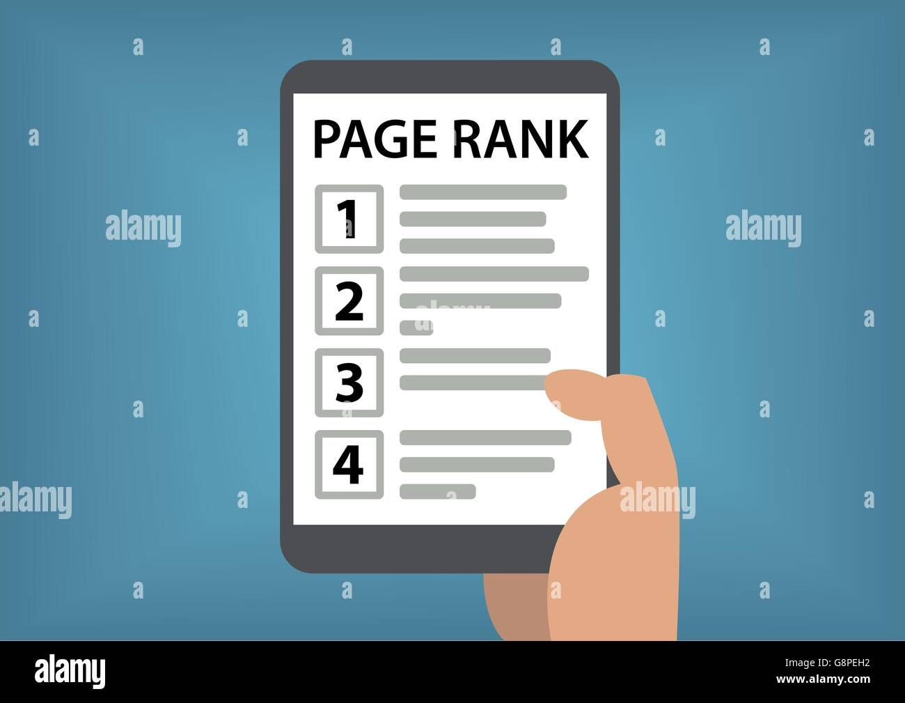 Page rank and search result concept with hand holding smart phone - Stock Vector