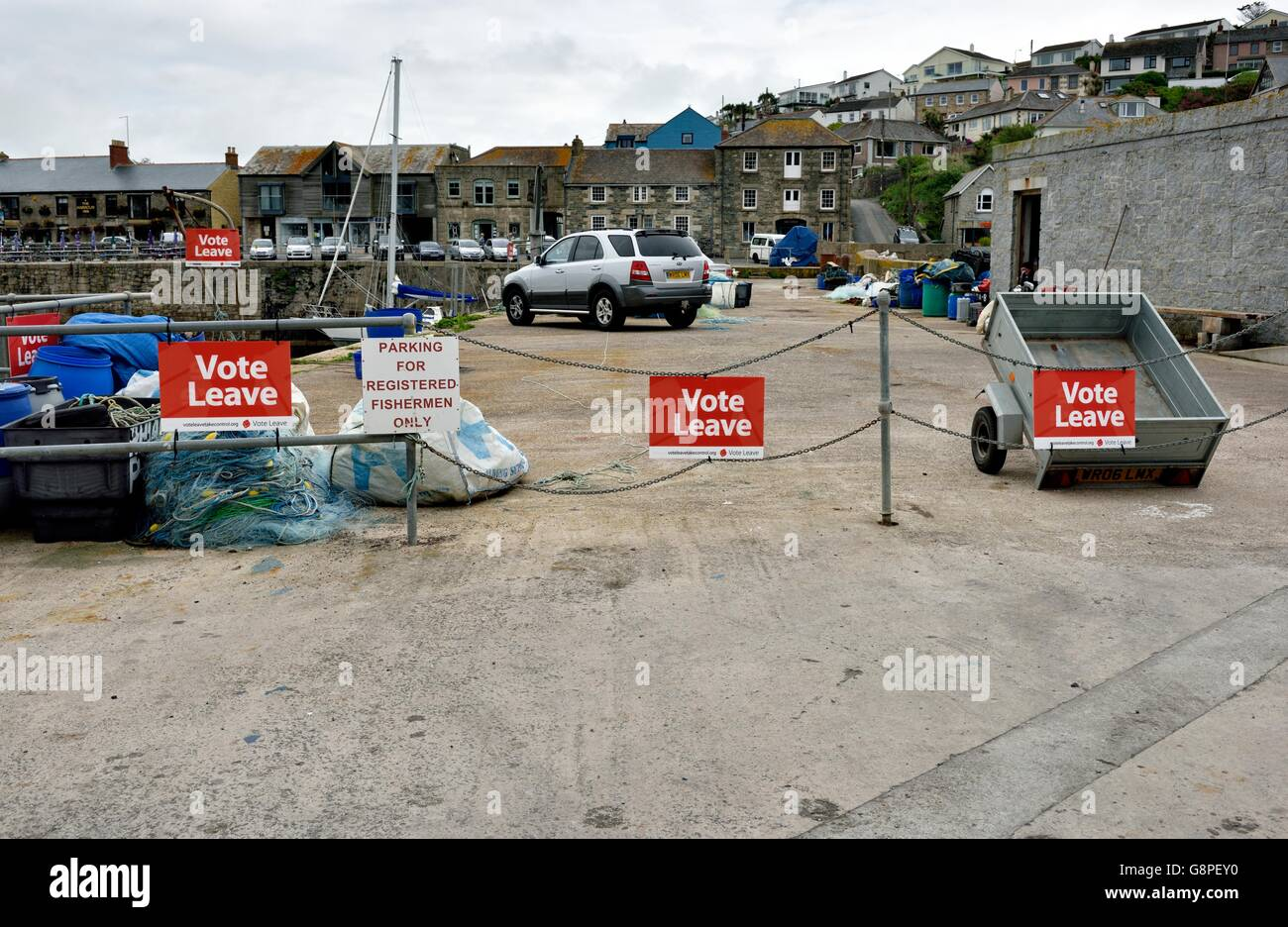 Brexit vote leave signs in Porthleven Harbour Cornwall England UK - Stock Image