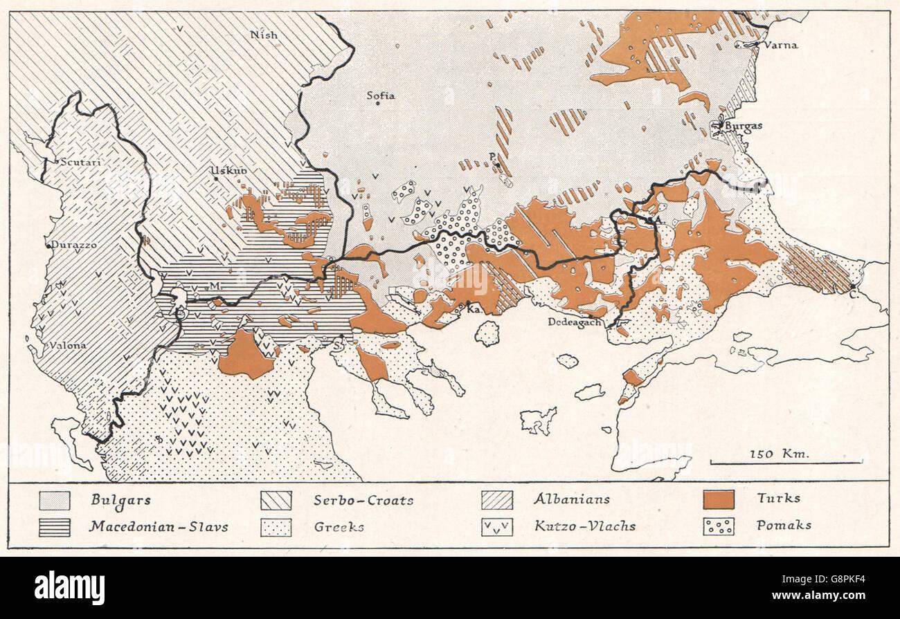 MACEDONIA: Ethnography (Serbian view) 1913. WW2 ROYAL NAVY INTELLIGENCE MAP 1944 - Stock Image