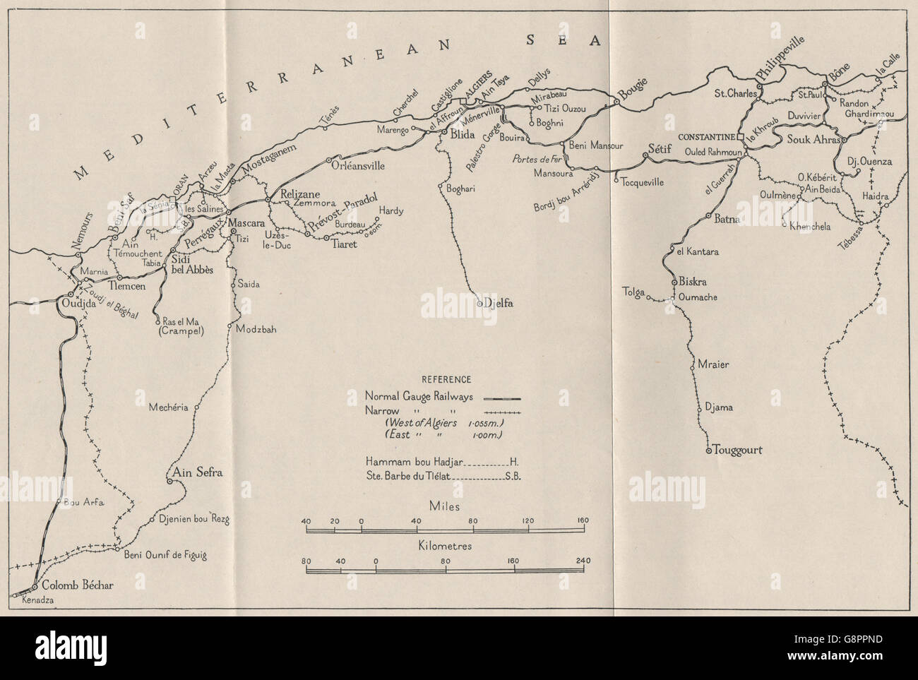 ALGERIAN RAILWAYS: WW2 ROYAL NAVY INTELLIGENCE MAP, 1944 - Stock Image