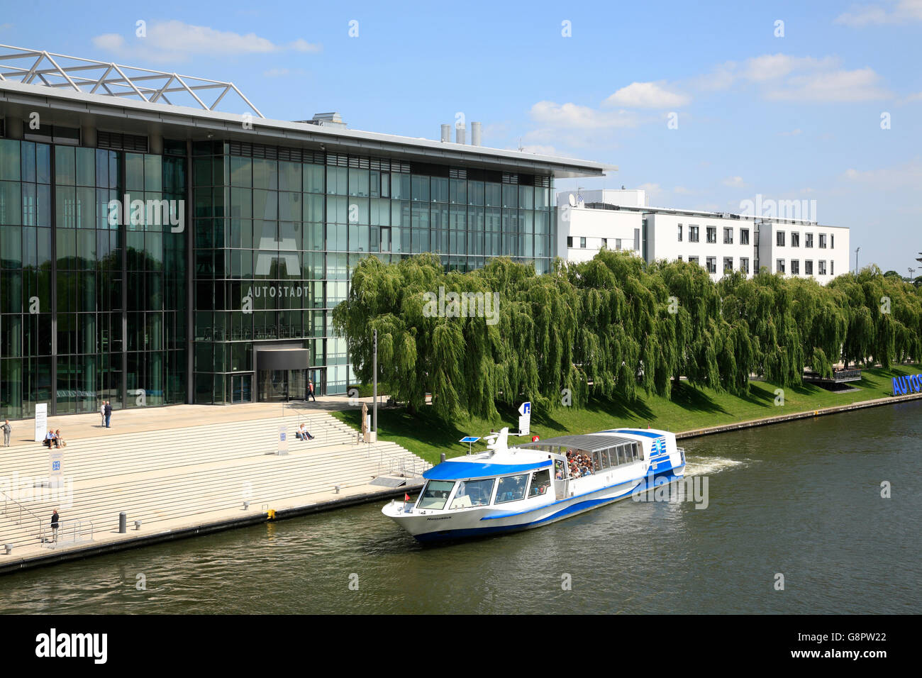 Wolfsburg, jetty of  VW Autostadt  at Mittelland canal, Lower Saxony, Germany, Europe - Stock Image