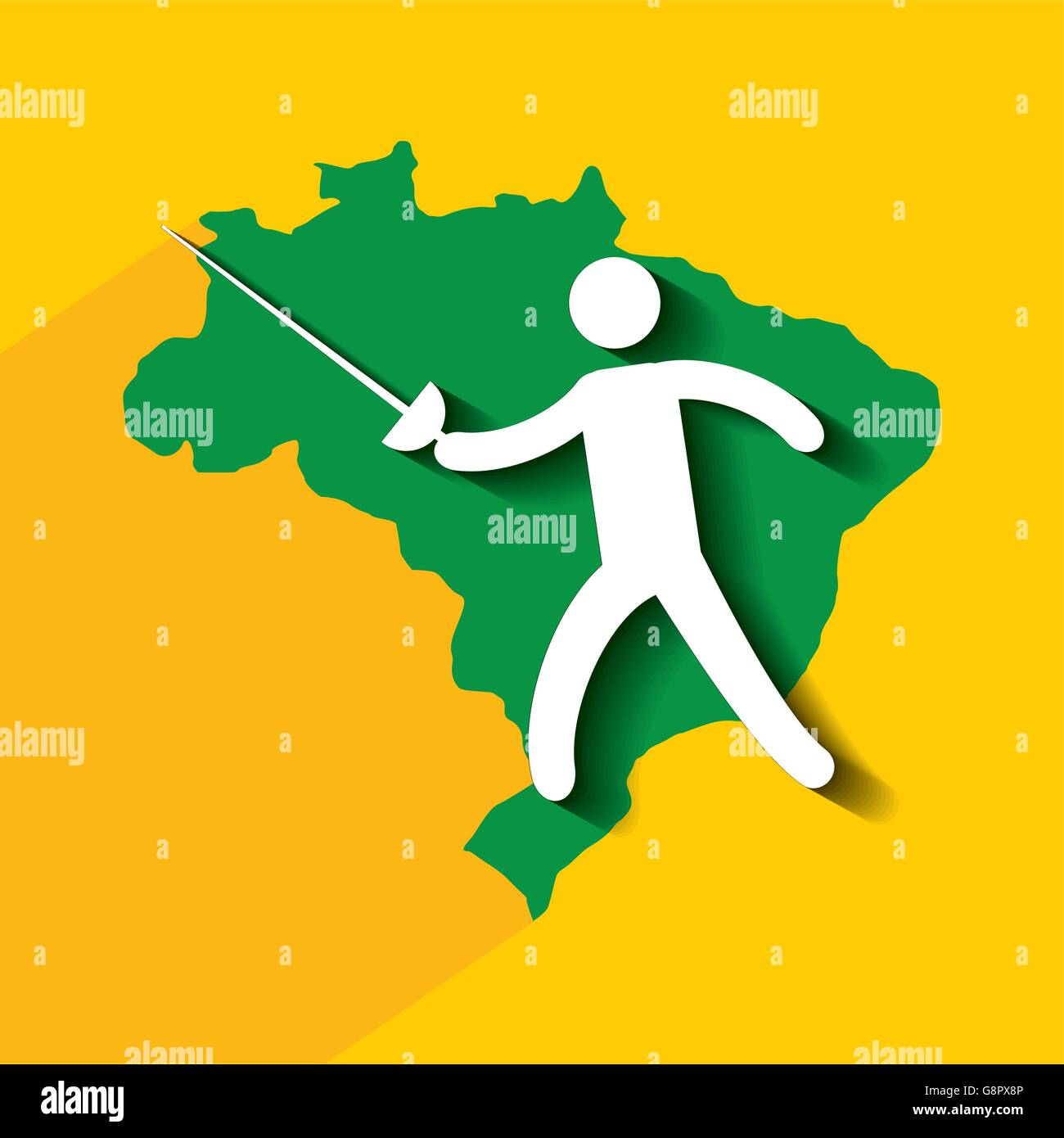 Brazil and the Olympic sports isolated icon design - Stock Vector