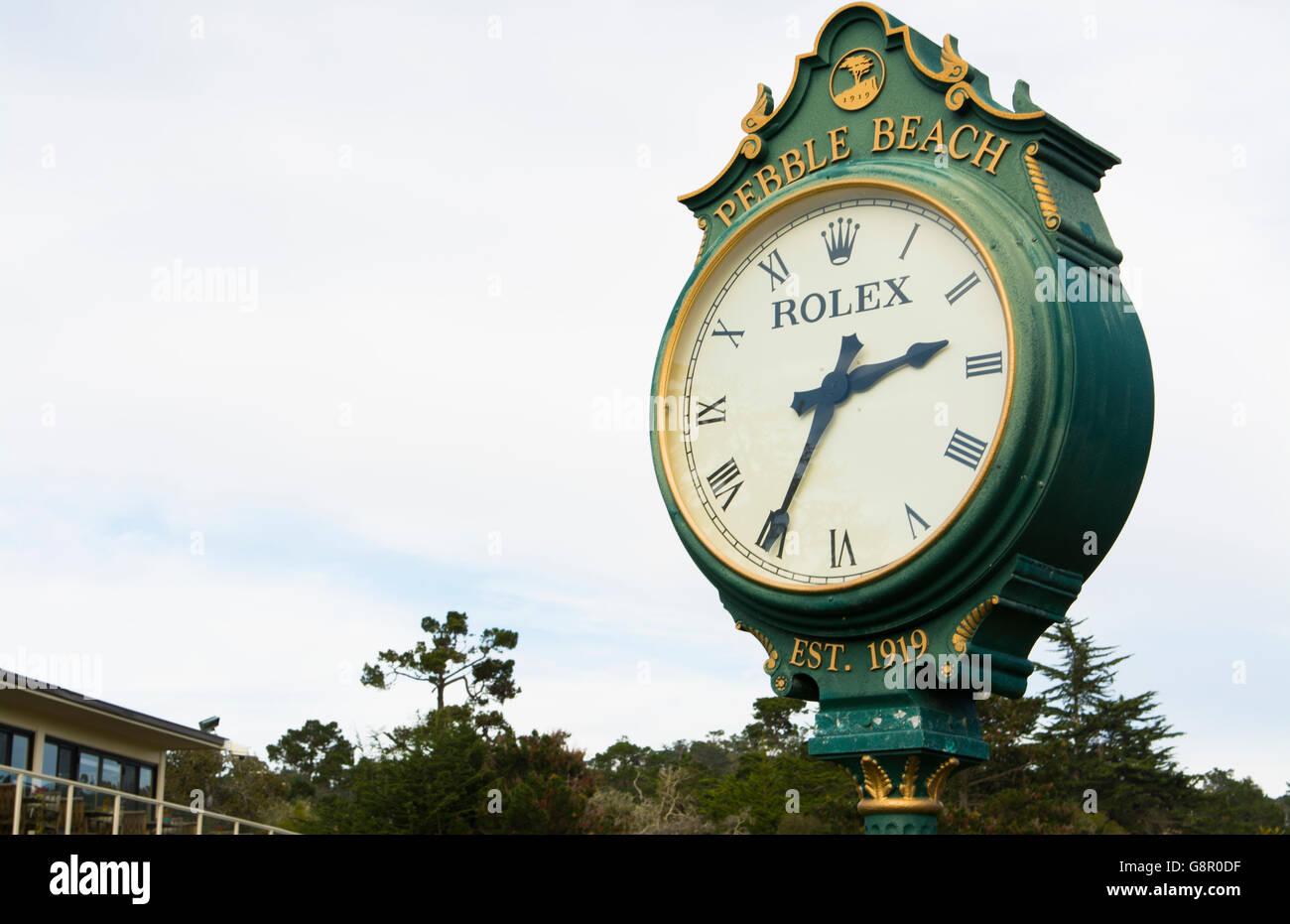 Pebble Beach California clock at Pebble Beach Golf Links exclusive golf course - Stock Image