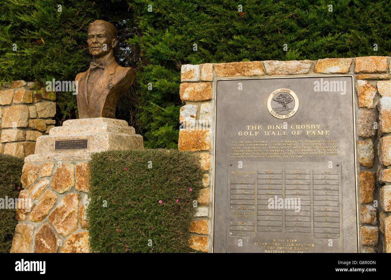 Pebble Beach California statue of Samuel F.B. Morse, founder at Pebble Beach Golf Links and list of Bing Crosby - Stock Image
