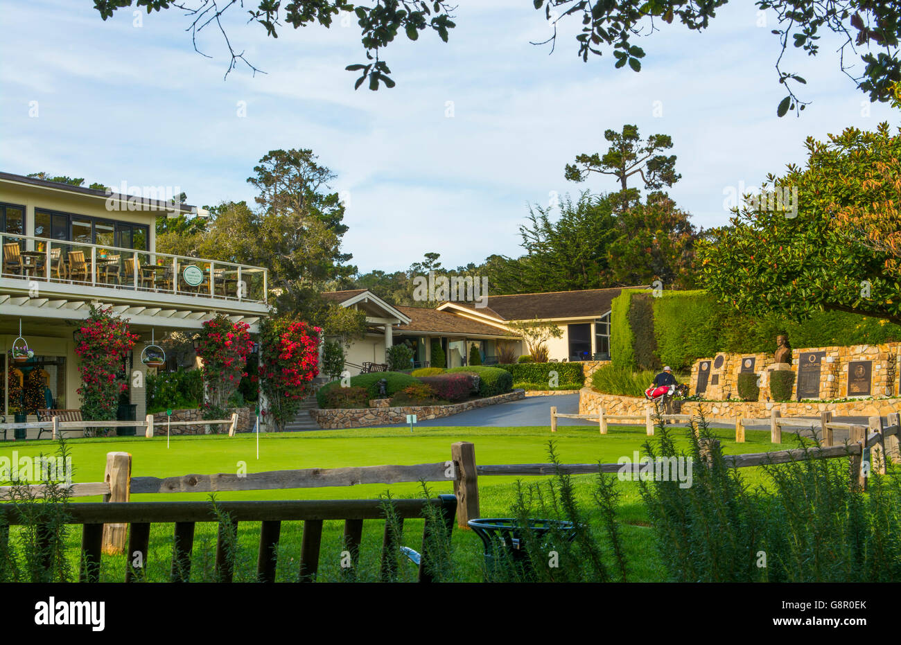 Pebble Beach California shops and putting green at Pebble Beach Golf Links exclusive golf course - Stock Image