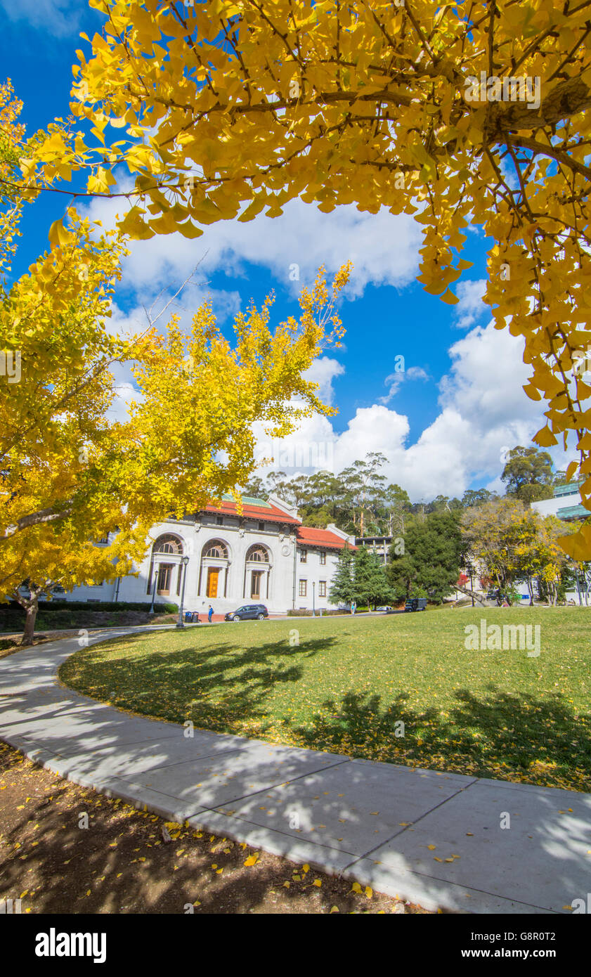 Berkeley California University of California at Berkeley, Hearst Memorial building with fall leaves color - Stock Image