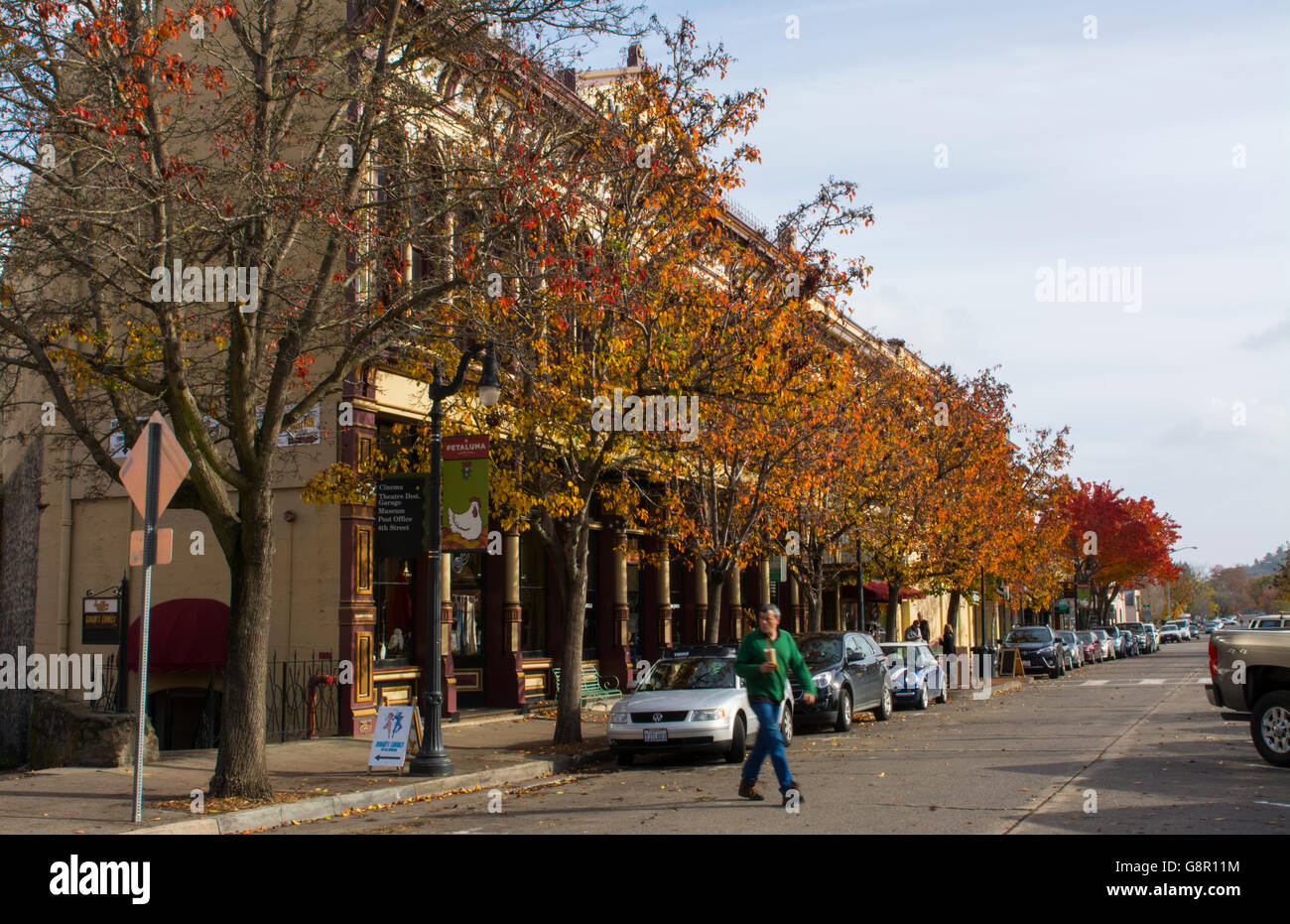 Petaluma California downtown on Kentucky Street and Western Ave with traffic and cars - Stock Image
