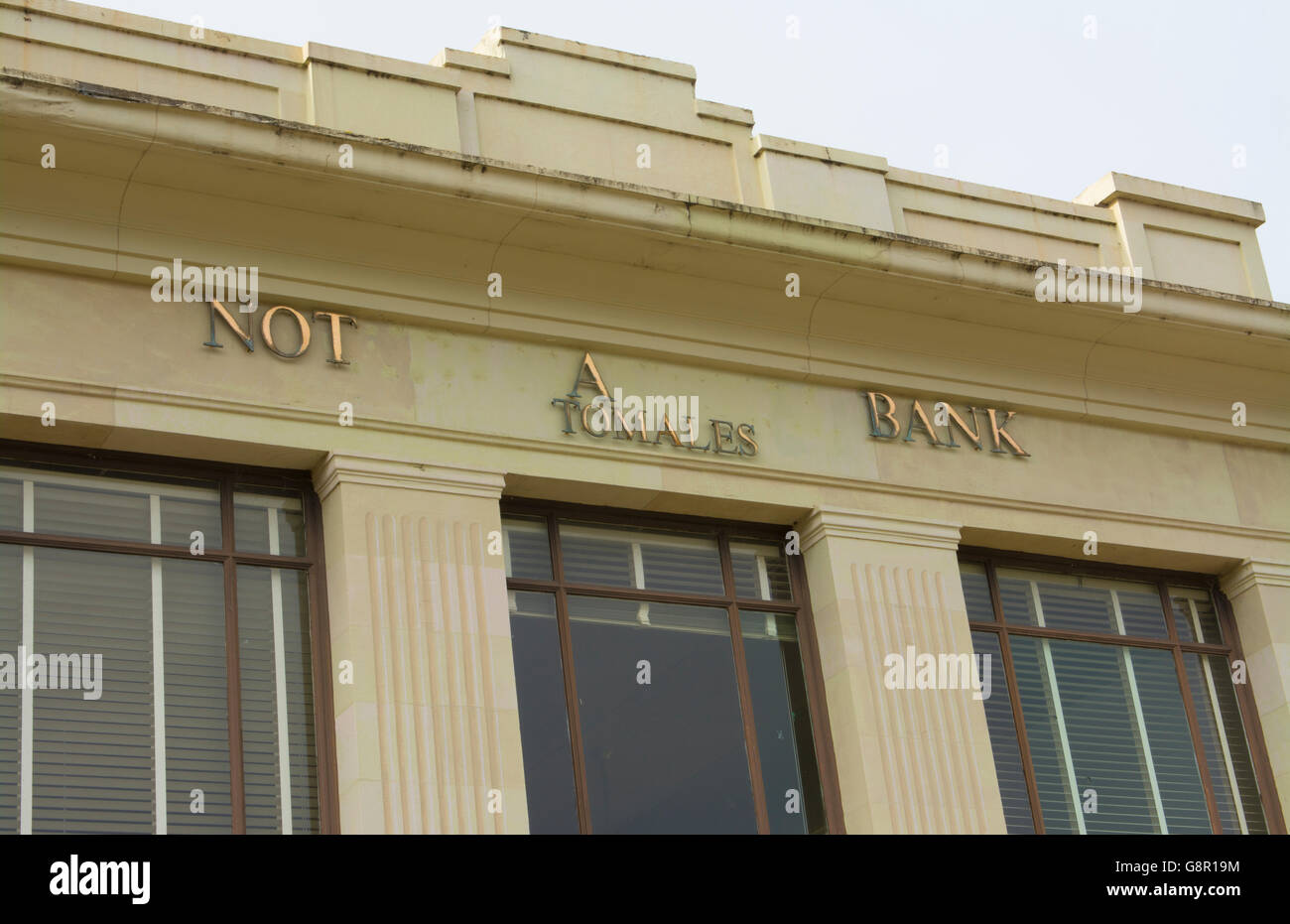 Tomales California on PCH #1 at Not A Bank restored bank building in Marin County small town - Stock Image