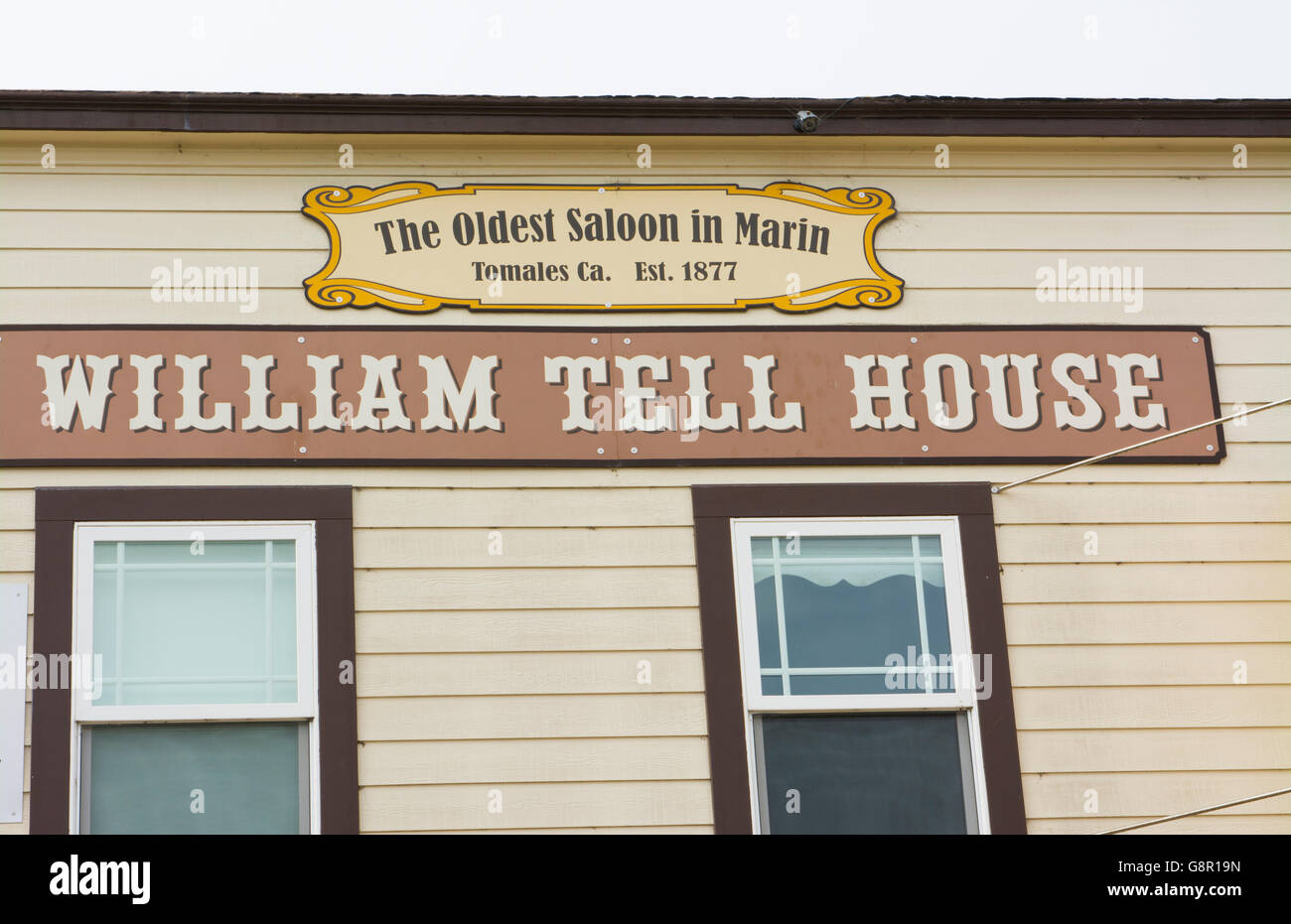 Tomales California on PCH #1 at the William Tell House the oldest saloon in Marin County  1877 founded small town - Stock Image
