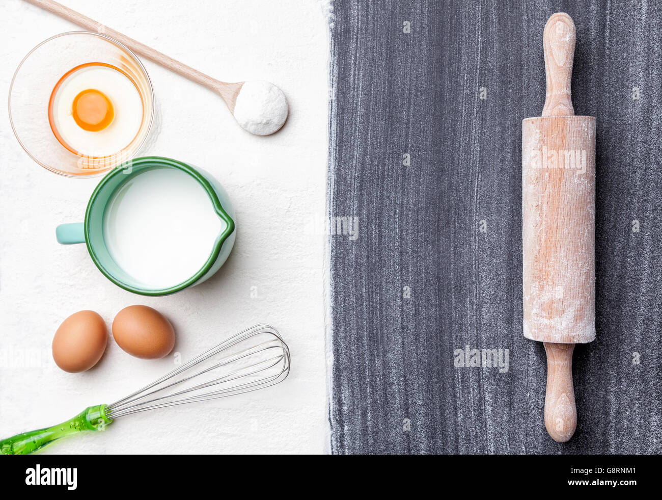 Baking and cooking concept, variety of ingredients and utensils with copyspace - Stock Image
