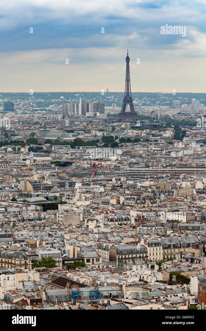 Wide angle view of Paris, France - Stock Image