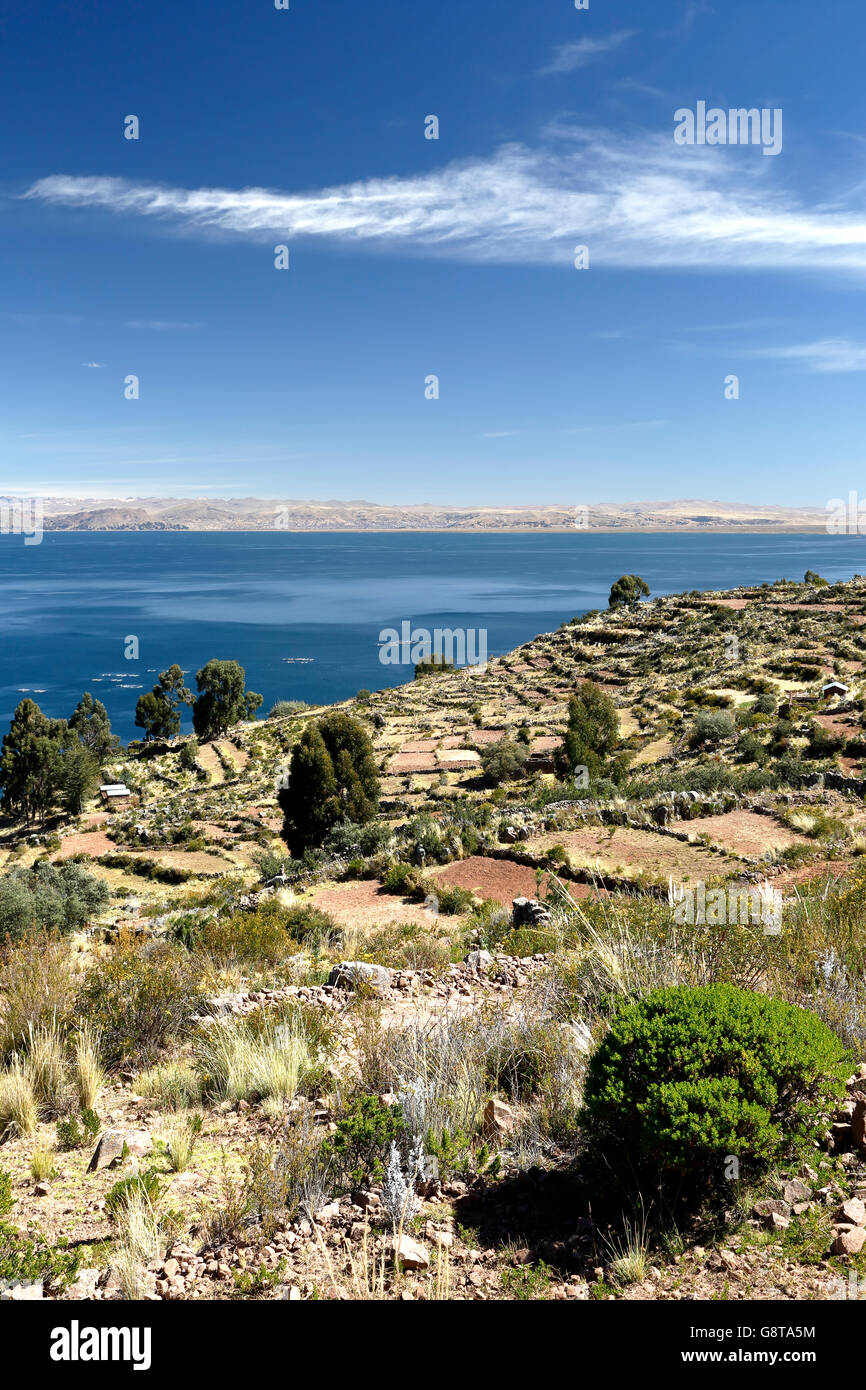 Ancient agricultural terraces and lake, Capachica Peninsula, Lake Titicaca, Puno, Peru - Stock Image